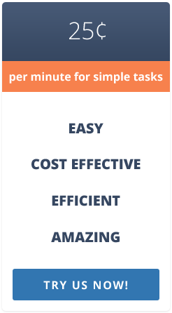 $0.25 per minute for simple tasks. Try us now!